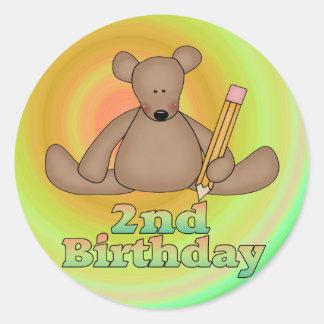 2do Oso de Brown del cumpleaños Etiquetas Redondas
