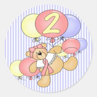 2do Oso de peluche del cumpleaños Pegatina