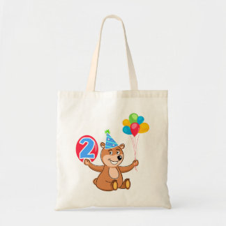 2do Oso del cumpleaños con los globos Bolsas De Mano