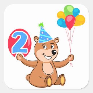 2do Oso del cumpleaños con los globos Calcomanías Cuadradass Personalizadas