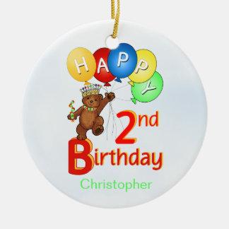 2do Oso real del cumpleaños Adorno Navideño Redondo De Cerámica