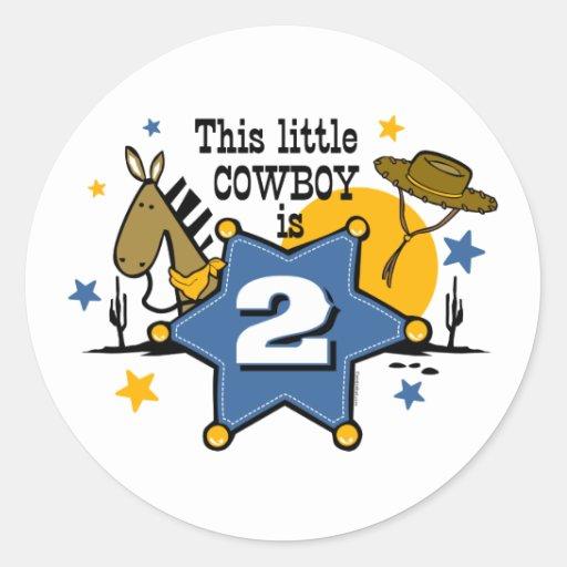 2do pegatina del cumpleaños del pequeño vaquero