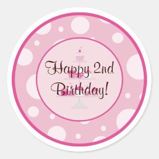 2do pegatina feliz del cumpleaños