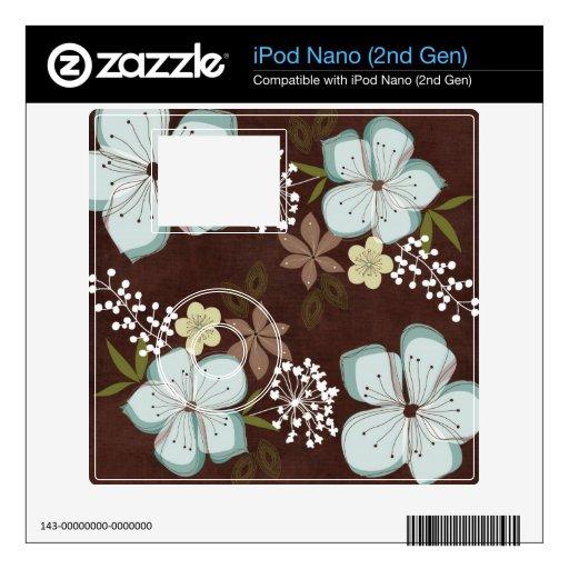 2do pegatina Flowe azul hawaiano de la piel de la  iPod Nano Calcomanías