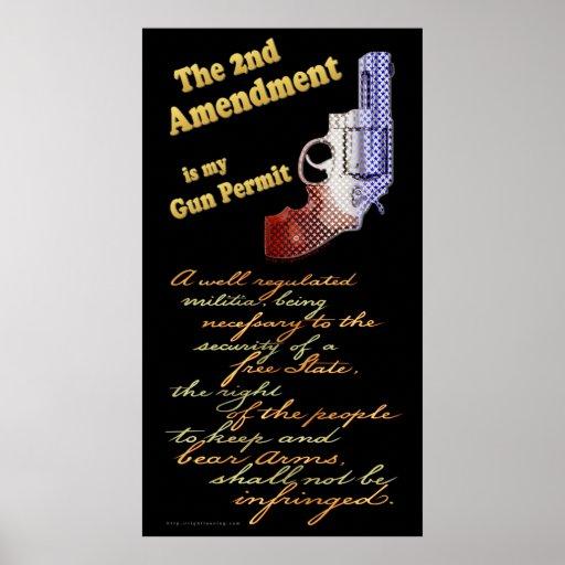 2do permiso del arma de la enmienda póster