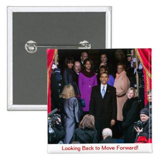 2do Pin trasero de Inauguración-Mirada de Barack O Pin Cuadrada 5 Cm