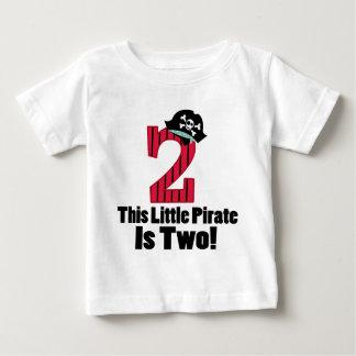 2do pirata lindo del cumpleaños playera de bebé