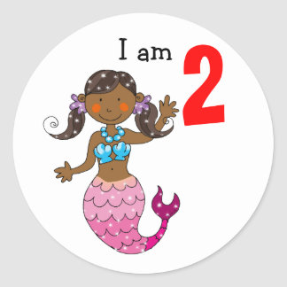2do regalo de cumpleaños para un chica, sirena pegatina redonda