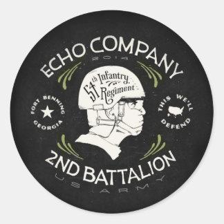 2do regimiento de infantería del batallón 54.o de pegatina redonda