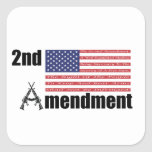 2do Rifles A de AR de la enmienda y bandera Pegatina Cuadrada