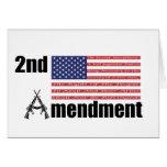 2do Rifles A de AR de la enmienda y bandera Felicitaciones