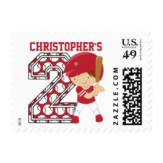 2do rojo personalizado del talud del béisbol del estampillas