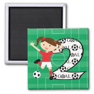 2do Rojo y blanco del chica del fútbol del cumplea Imán Cuadrado