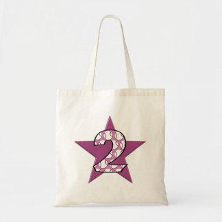 2do Rosa de la estrella de béisbol del cumpleaños Bolsa De Mano