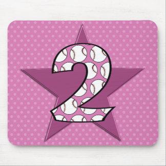 2do Rosa de la estrella de béisbol del cumpleaños Mousepad