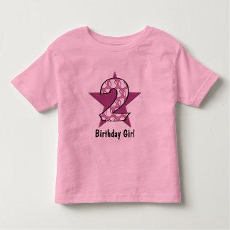 2do Rosa de la estrella de béisbol del cumpleaños Playera De Bebé