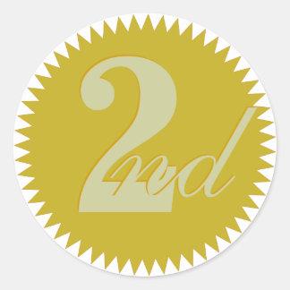 2do Segundos pegatinas premiados del sello de oro Pegatinas Redondas