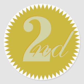 2do Segundos pegatinas premiados del sello de oro Pegatina Redonda