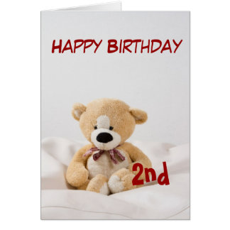 2do tema del oso de peluche del feliz cumpleaños tarjeta de felicitación