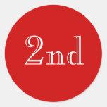 2do. Texto de encargo. Rojo y blanco Etiqueta Redonda
