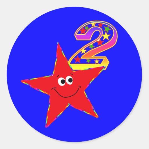 2dos pegatinas de la fiesta de cumpleaños de la pegatina redonda