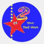 2dos pegatinas del cumpleaños de la estrella etiquetas redondas