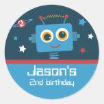 2dos pegatinas del personalizado del cumpleaños etiquetas redondas