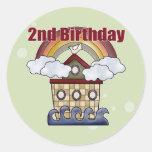 2dos regalos de cumpleaños de la arca etiquetas redondas