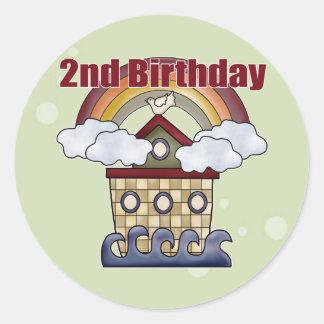 2dos regalos de cumpleaños de la arca pegatina redonda