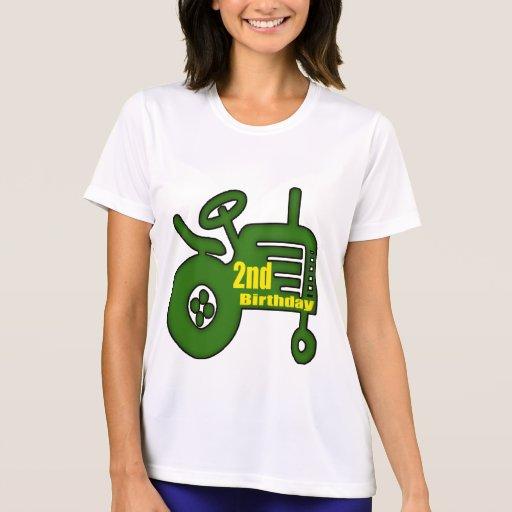 2dos regalos de cumpleaños del tractor camiseta