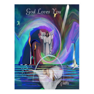 2GodIsNoFantasybywebbie, God Loves You Postcard