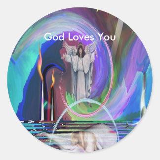 2GodIsNoFantasybywebbie, God Loves You Round Stickers