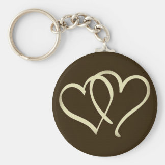 2hearts-Ivory Basic Round Button Keychain