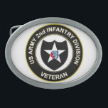 "2ID Veteran Oval Belt Buckle<br><div class=""desc"">2nd Infantry Division Veteran</div>"