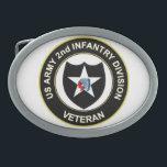 "2ID Veteran Oval Belt Buckle<br><div class=""desc"">2nd Infantry Division Veteran</div>"