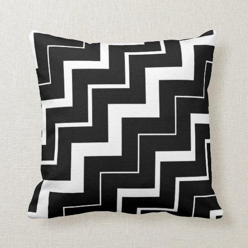 2in1 Black White Chevron Pattern Cushion