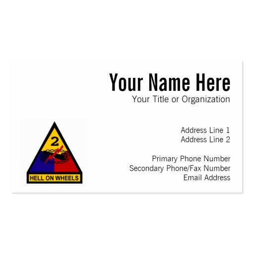 2nd AD Class A Shoulder Patch Business Card