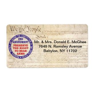 2nd Amendment Circle Keep & Bear Arms Shipping Label