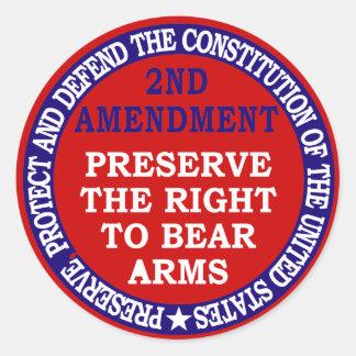 2nd Amendment Circle Round Sticker Round Sticker