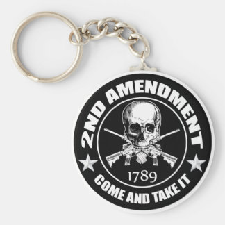 2nd Amendment Come And Take It Skull And AR's Keychain