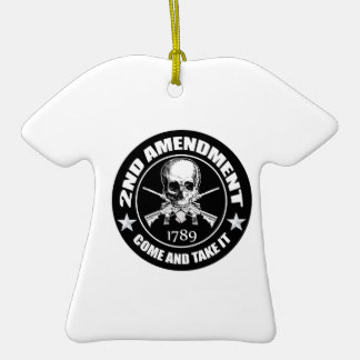 2nd Amendment Come And Take It Skull And AR's Double-Sided T-Shirt Ceramic Christmas Ornament