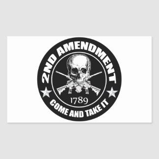 2nd Amendment Come And Take It Skull And AR's Rectangular Sticker