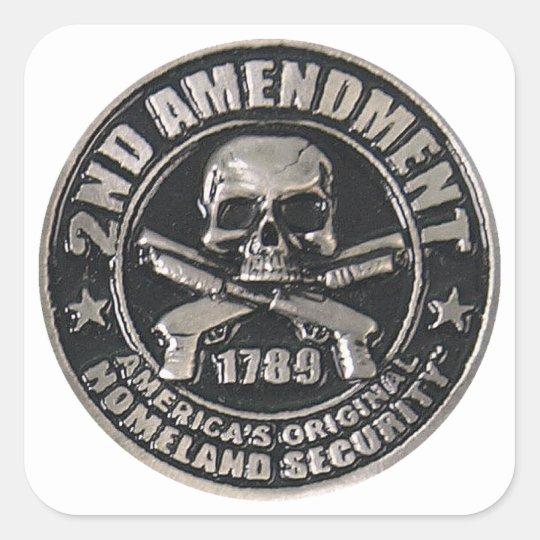 2nd Amendment Medal Square Sticker
