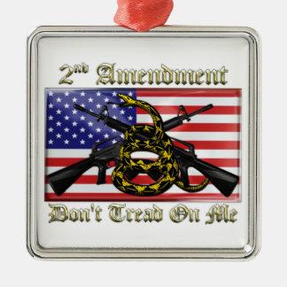 2nd Amendment Square Metal Christmas Ornament