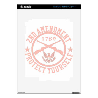 2nd Amendment Protect Yourself Light Pink Decals For iPad 3