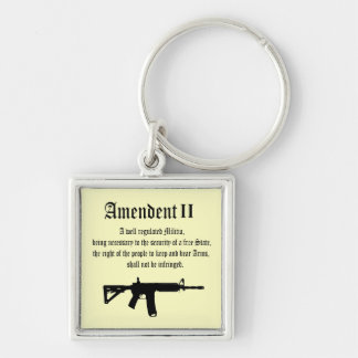 2nd Amendment Silver-Colored Square Keychain