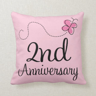 2nd Aniversary Celebration Gift butterfly Throw Pillow