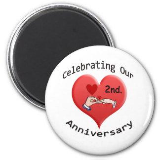 2nd. Anniversary 2 Inch Round Magnet