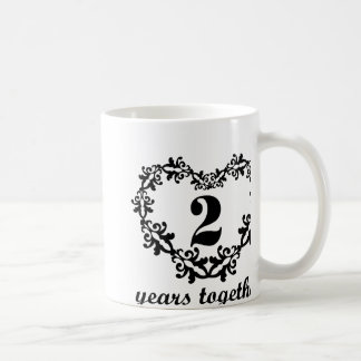 2nd Anniversary 2 Years Together Heart Gift Mug