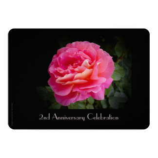 2nd Anniversary Celebration Invitation Pink Rose